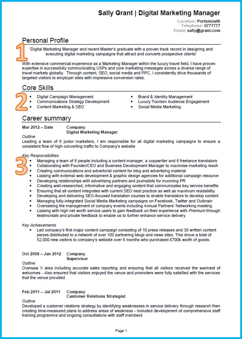 Marketing CV 1 Good cv, Resume format in word