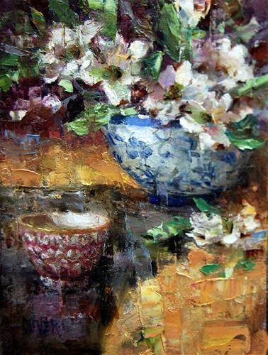 """""""Dogwood and Porcelain."""" - Original Fine Art for Sale - © Julie Ford Oliver"""