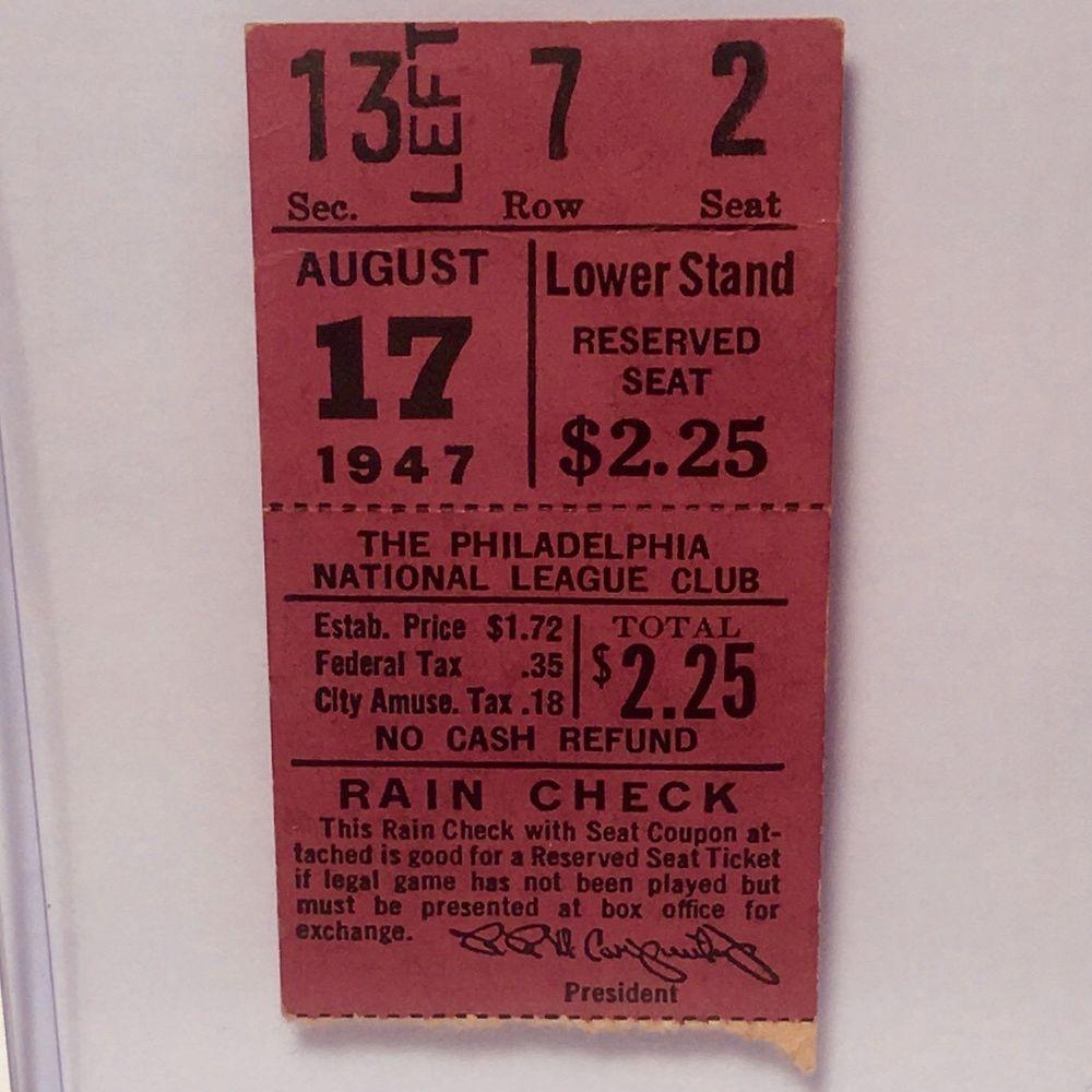 1947 brooklyn dodgers phillies baseball ticket stub jackie
