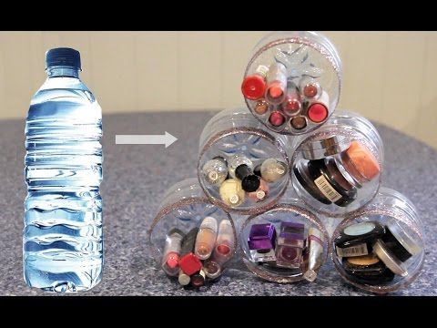 I Was So Relieved To Find This Tutorial Because I Always Need More Space For My Makeup Yet Still Water Bottle Crafts Plastic Bottle Crafts Diy Plastic Bottle