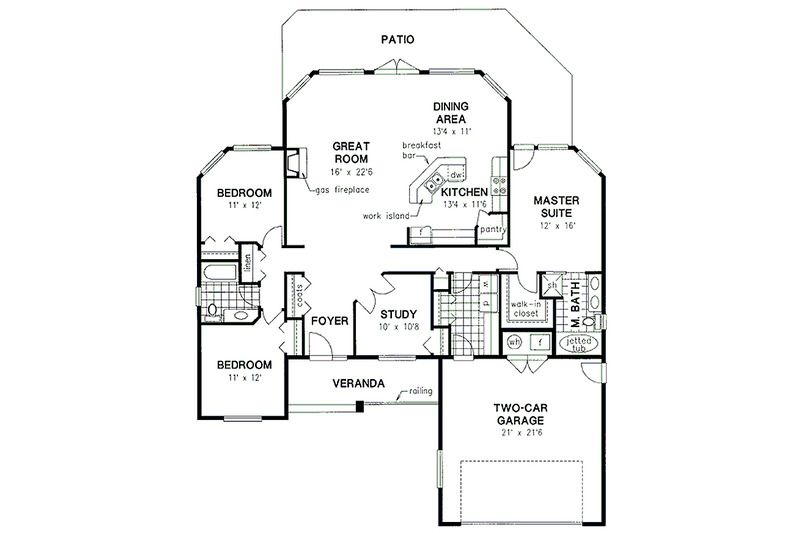 Traditional Style House Plan - 3 Beds 200 Baths 1856 Sq/Ft Plan #18