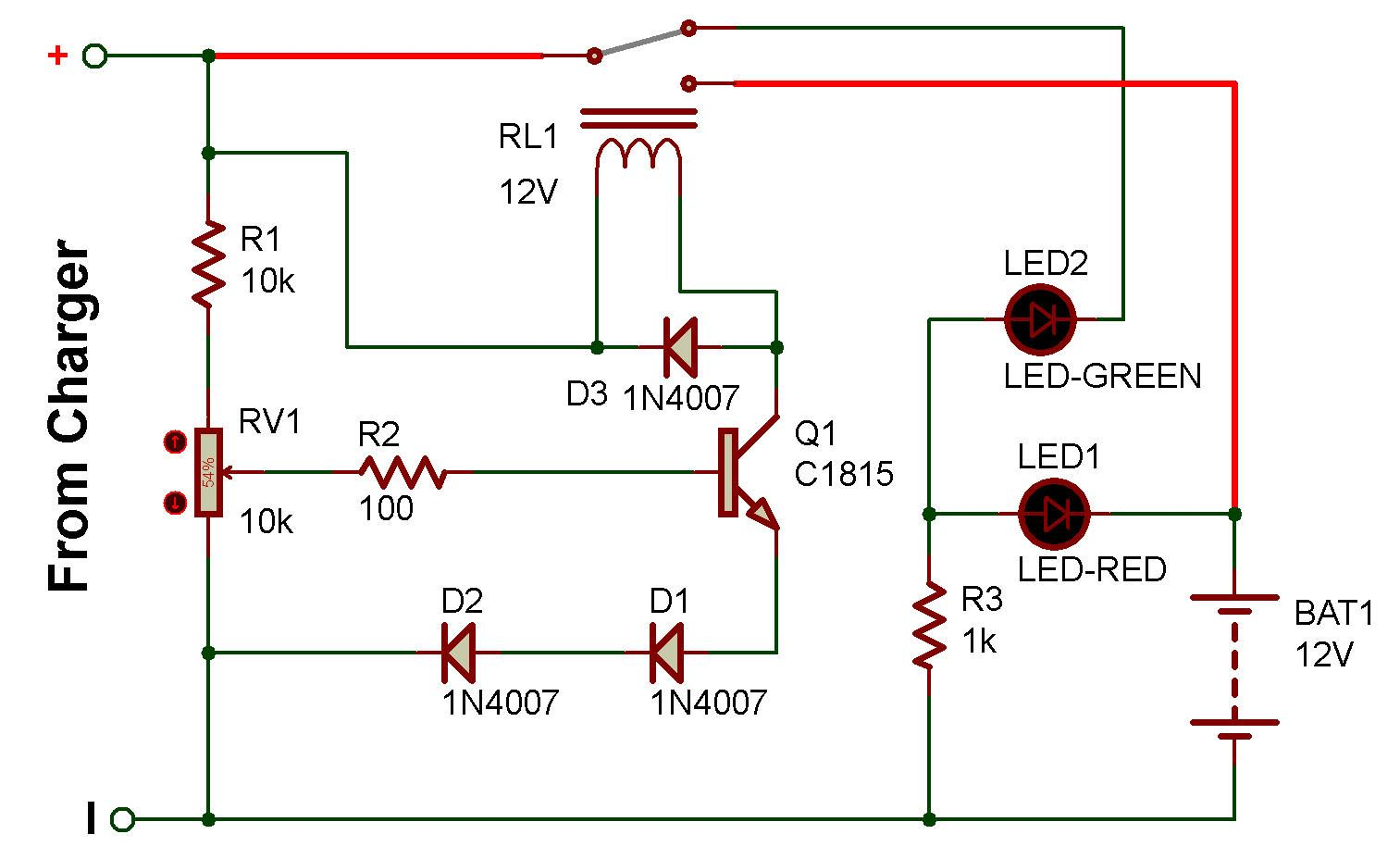 Http Www Zpag Net Electroniques Power 12v Charger Indicator Html Electronic Schematics Electronics Basics Battery Charger Circuit