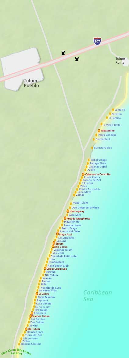 Map Of Tulum And Hotels Beach Cancun Mexico Cozumel