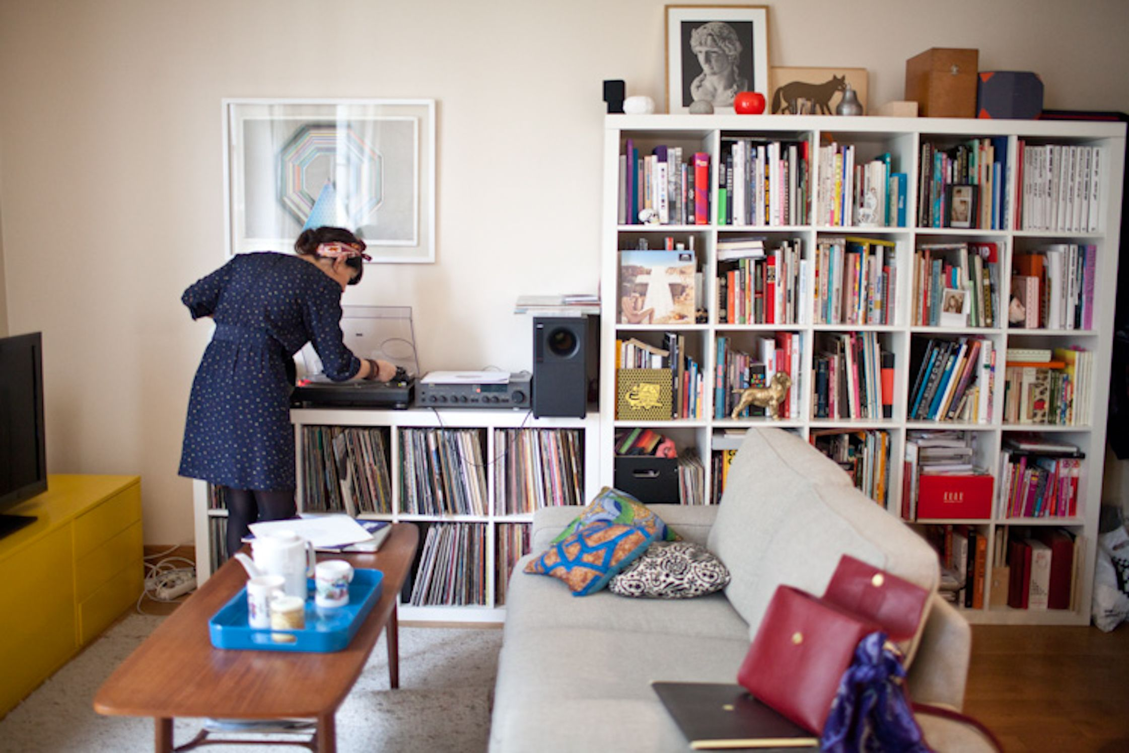 Leslie David and her record collection