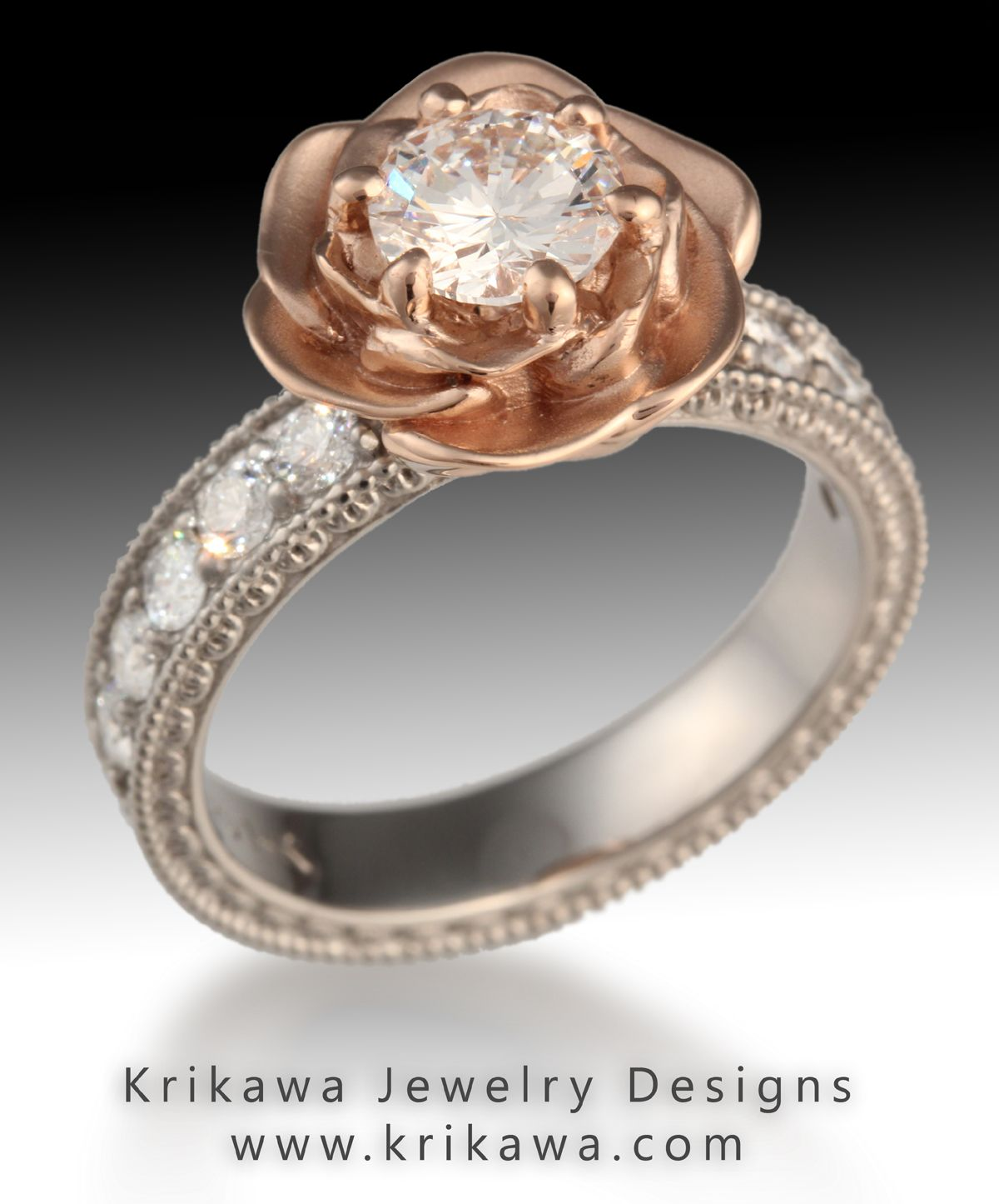 vintage engagement ring with rose gold and a rose flower | wedding