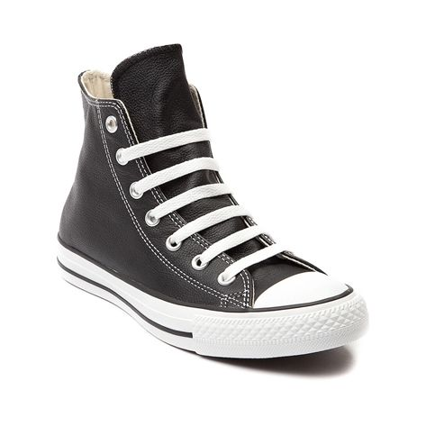 Shop for Converse All Star Hi Leather Sneaker in Black Leather at Journeys Shoes. Shop today for the hottest brands in mens shoes and womens shoes at Journeys.com.The original Old School athletic shoe is still cool. Some things dont change because they dont need to. Leather upper. Please note that this shoe runs a half size large.