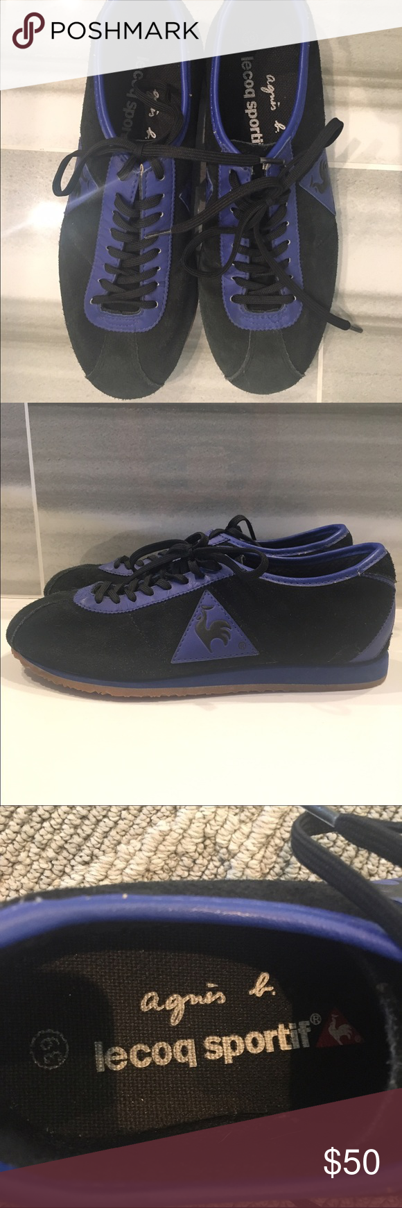 Agnes B Le coq sportiff sneakers. Rare black and purple suede sneakers bought at Agnes B in San Francisco.  Loved but lots of life left, soles in great condition.  Note leather cracking around heel (see photo).  Great chance to own some unusual retro kicks!  Note:  says 39 but fits like 8 maybe 8.5 Agnes B Shoes Sneakers
