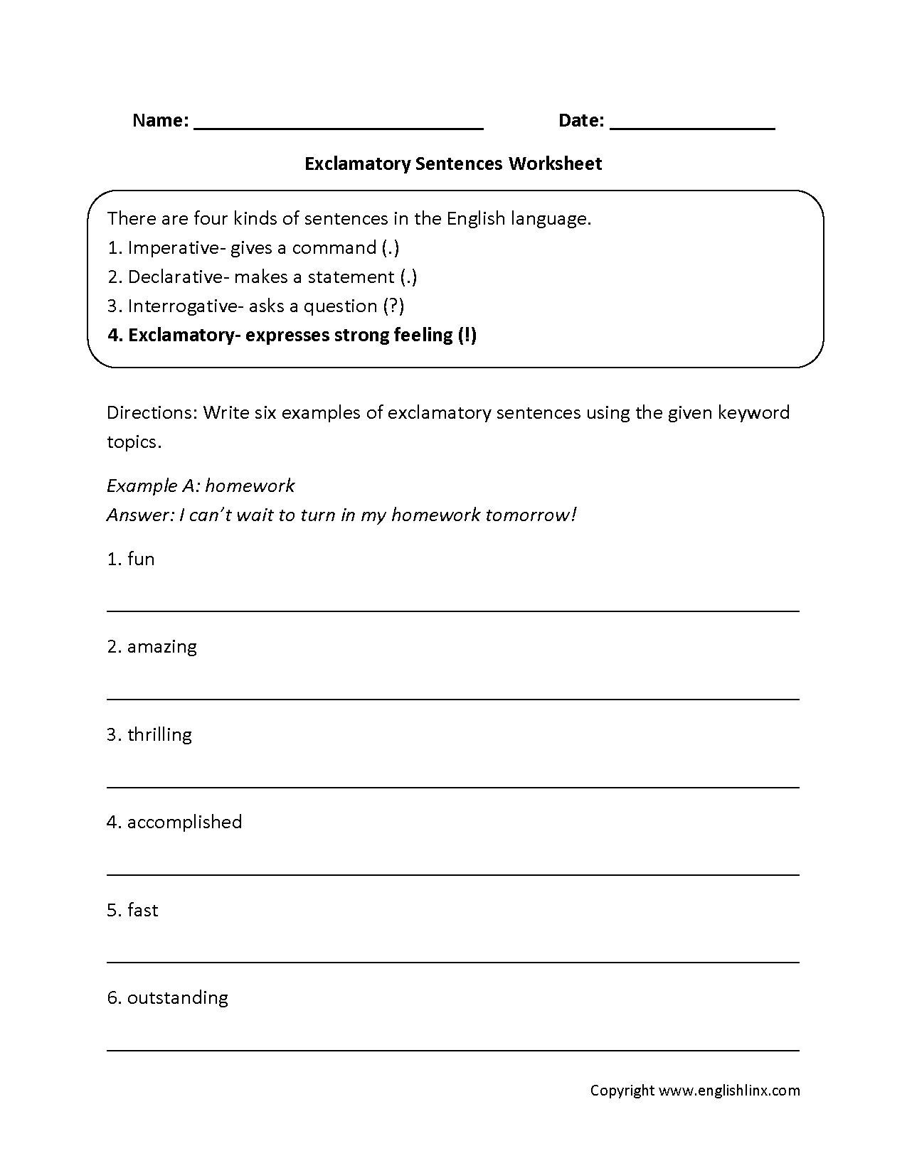 Exclamatory Types Of Sentences Worksheets