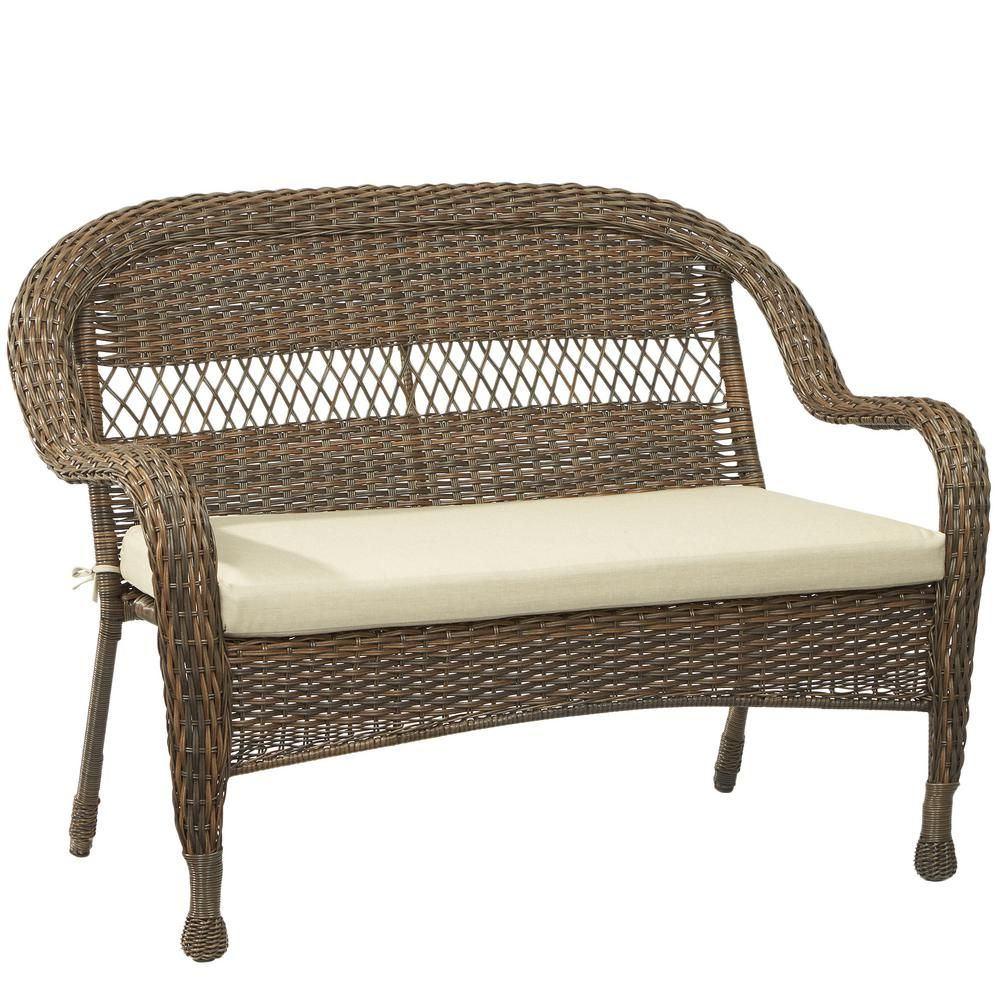 mix and match brown wicker outdoor stack loveseat with beige