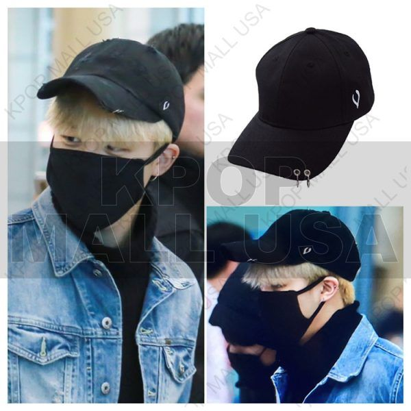 a4208dbc80d BTS Jimin Black Double Piercing Embroidered Snapback Buckle Hat in ...