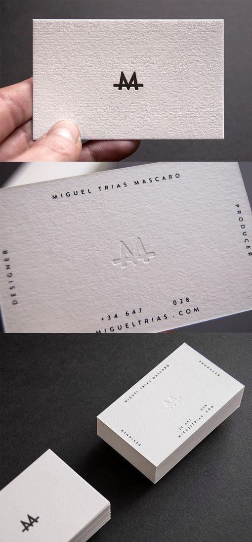 Slick Letterpress White Minimalist Design Business Card For A ...