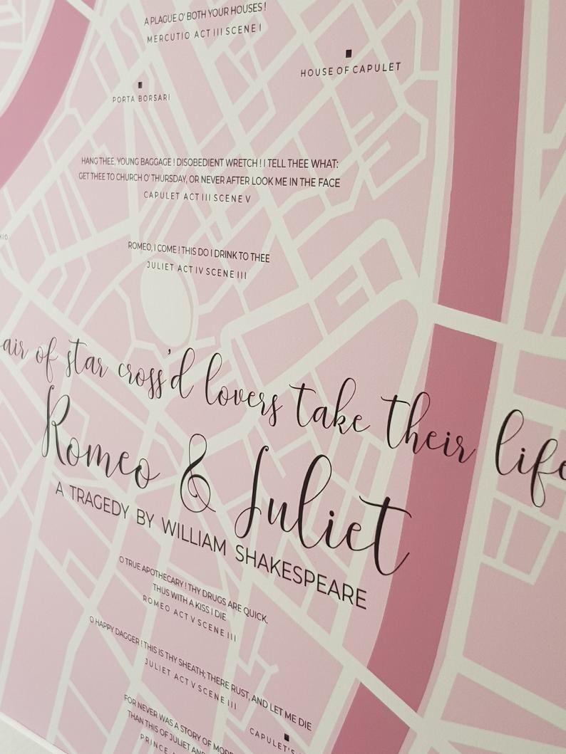Romeo Juliet Poster Wedding Gift Shakespeare Literary