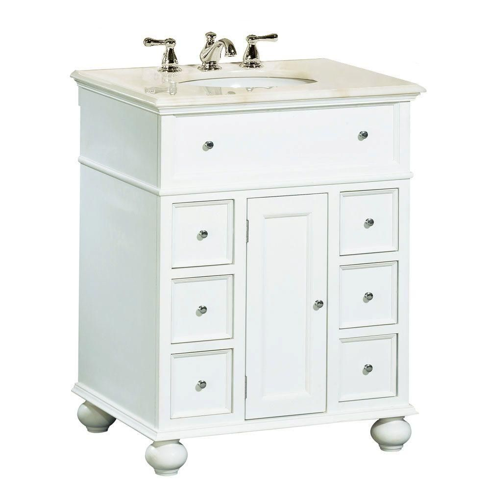Genial Home Decorators Collection Hampton Bay 28 In. W X 22 In. D Vanity In White  With Natural Marble Vanity Top In White 4129440410   The Home Depot