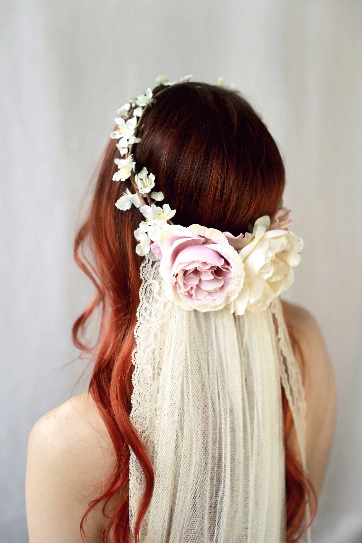 Blush pink flower crown flower crown veil bridal hair