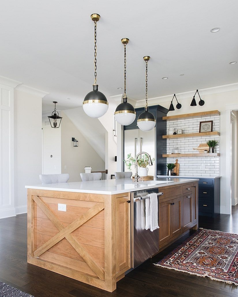 Kitchen Island Goals The X Inset With Shiplap Is Alder With A Natural Stain See This Post Moderne Bauernhaus Küchen Bauernhaus Küchen Insel Küchenstil