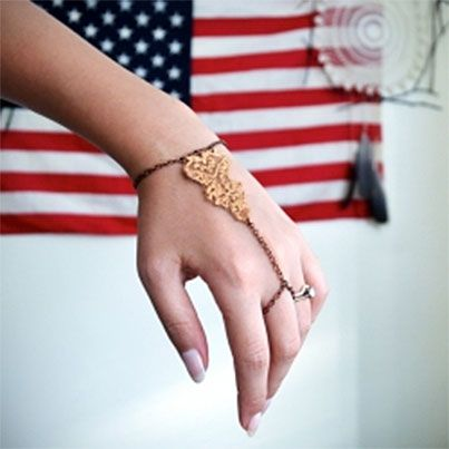 DIY Golden Lace Slave Bracelet