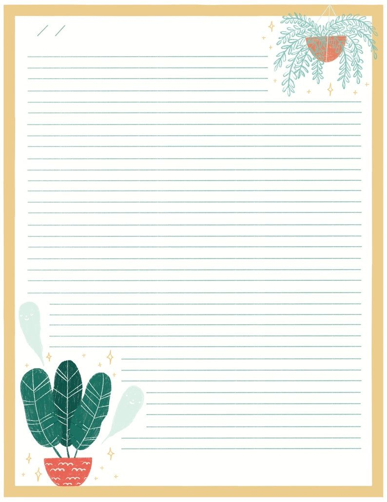 Read the full title Yellow Stationery Instant Download - Spooky Plants