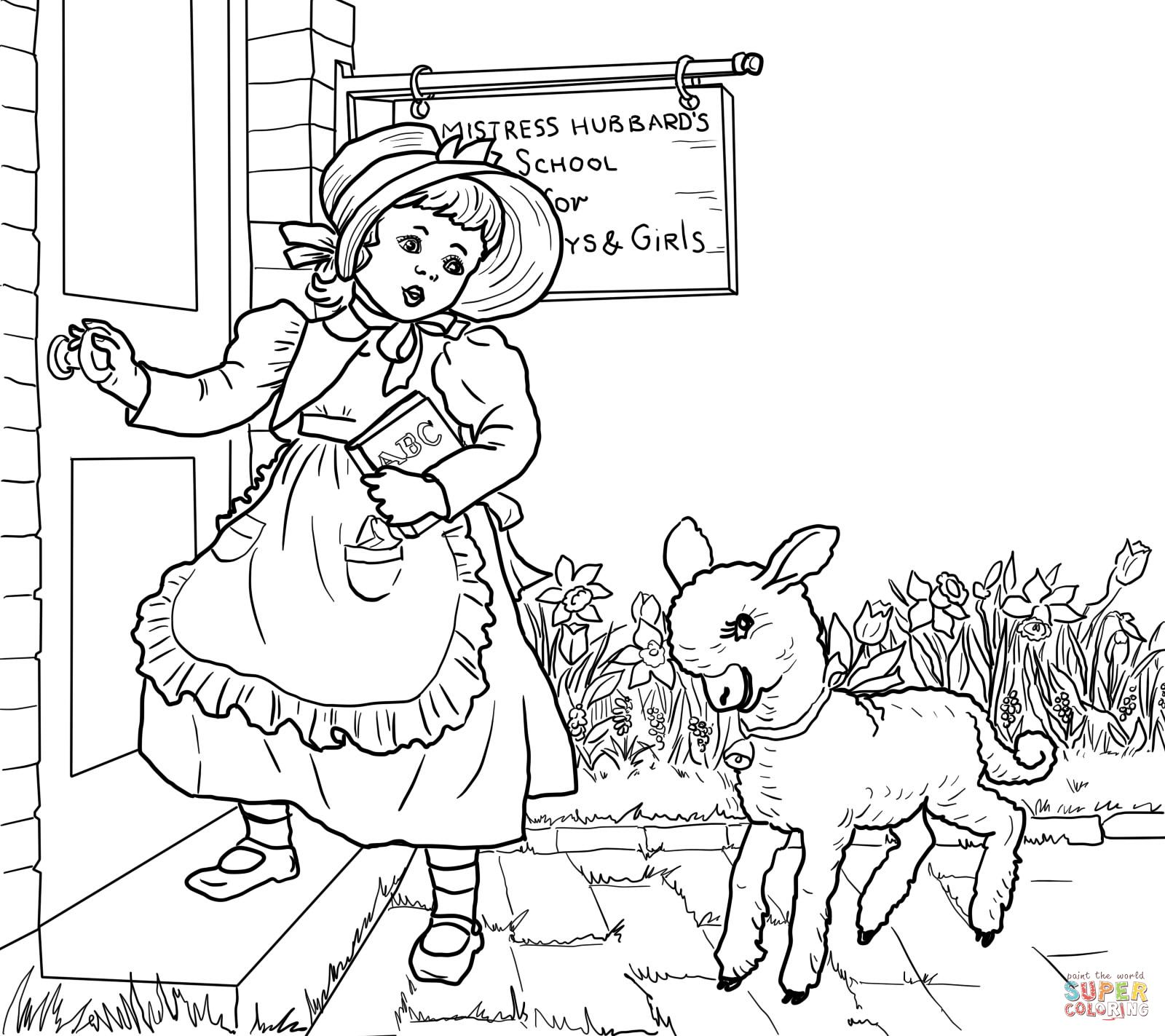 Mary Had A Little Lamb Nursery Rhyme Coloring Page Supercoloring