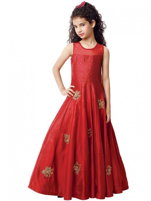 a2d252631 G3 Exclusive raw silk red party wear girls gown