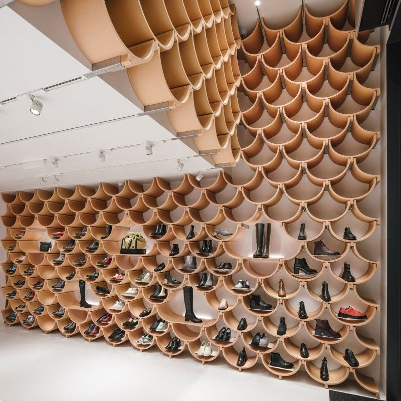 Roof Tiles Become Shoe Displays In Camper Store By Kengo Kuma Domus Kệ