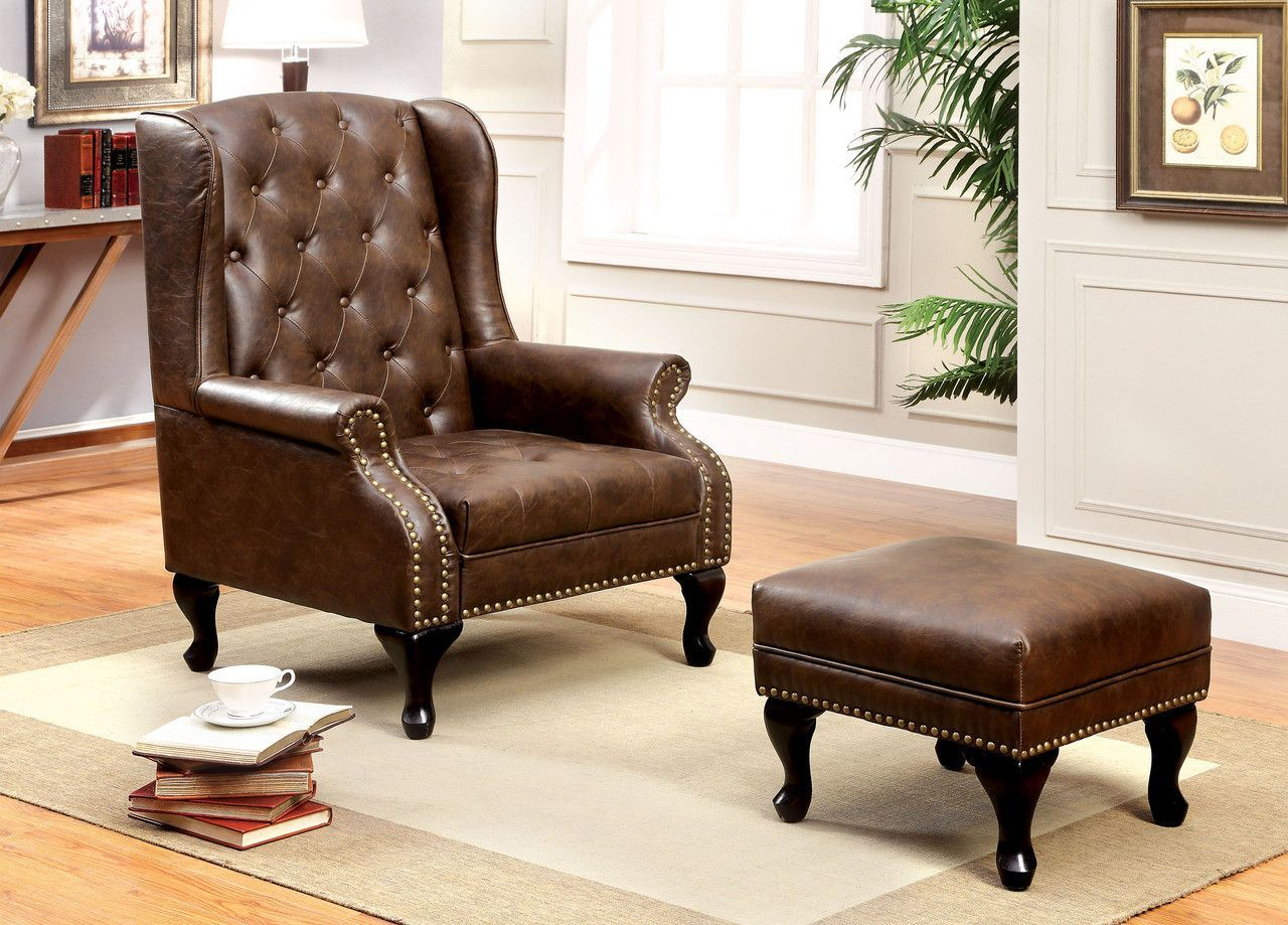 ACCENT CHAIR With OTTOMAN VAUGH COLLECTION CMAC6801BR