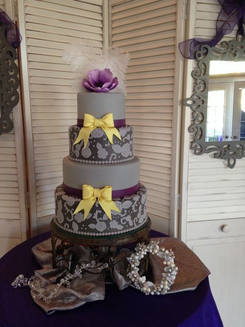 Gray Purple Wedding Cakes Grey Purple And Yellow Lace Wedding