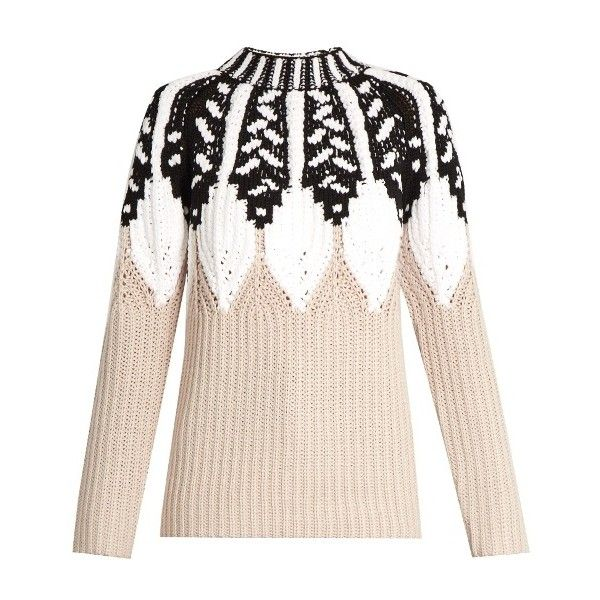 Peter Pilotto Round-neck intarsia-knit wool-blend sweater (€490) ❤ liked on Polyvore featuring tops, sweaters, beige multi, round neck top, round neck sweater, peter pilotto, beige sweater and peter pilotto tops