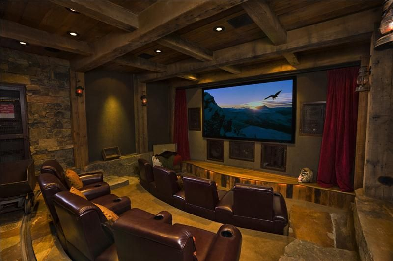 Dark Country Rustic Media Room By Jerry Locati On