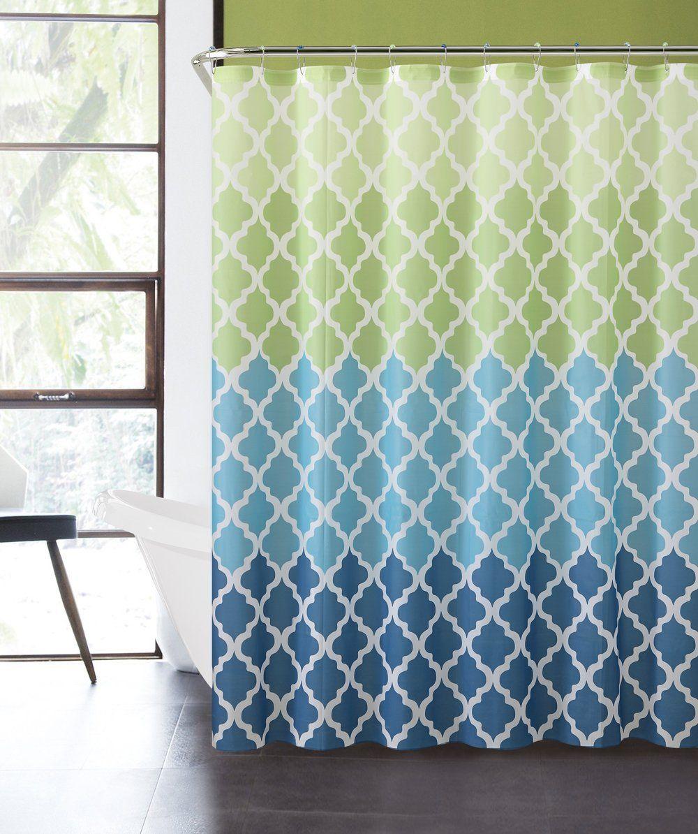 Amazon Com Luxury Home Ombre Peva Shower Curtain Blue Green