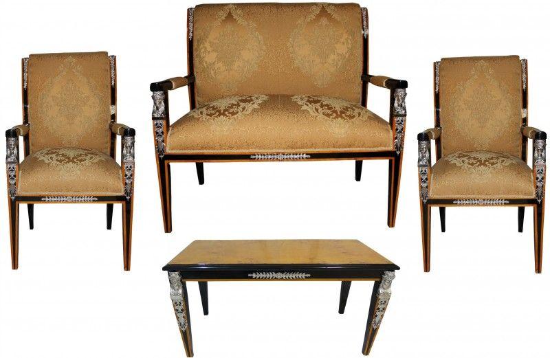 Casa Padrino Barock Empire Salon 4 Er Set Gold Muster Schwarz Mahagoni Silber Sitzbank 2 Sessel Couchtisch Couchtisch Sessel Sofa