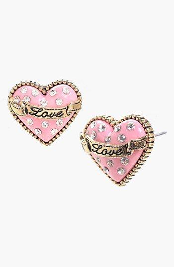 Betsey Johnson Glitter Heart Stud Earrings Available At Nordstrom Pink Love