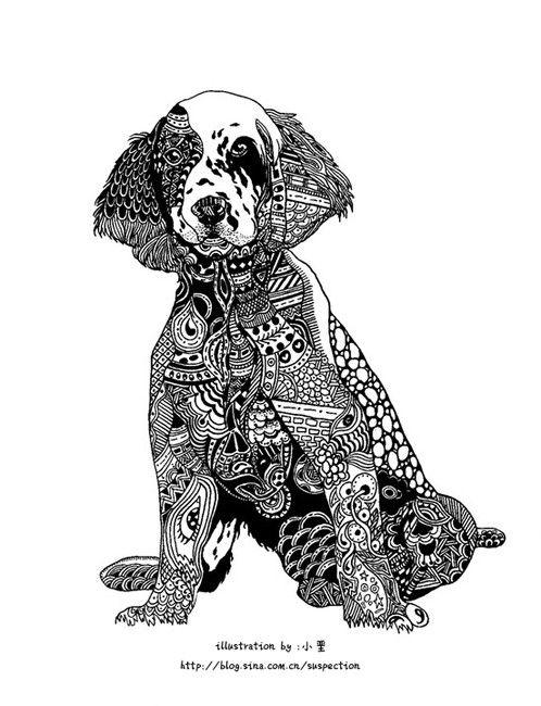 Coloriage Chien Springer.English Springer Spaniel Dog En 2019 Mandala Chien Coloriage