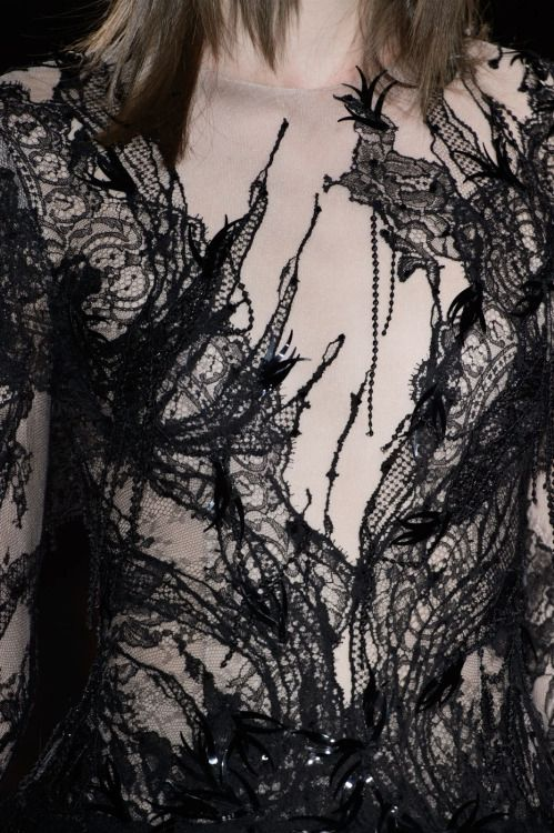 Black lace dress, dark couture fashion details // Julien Fournie Fall 2015