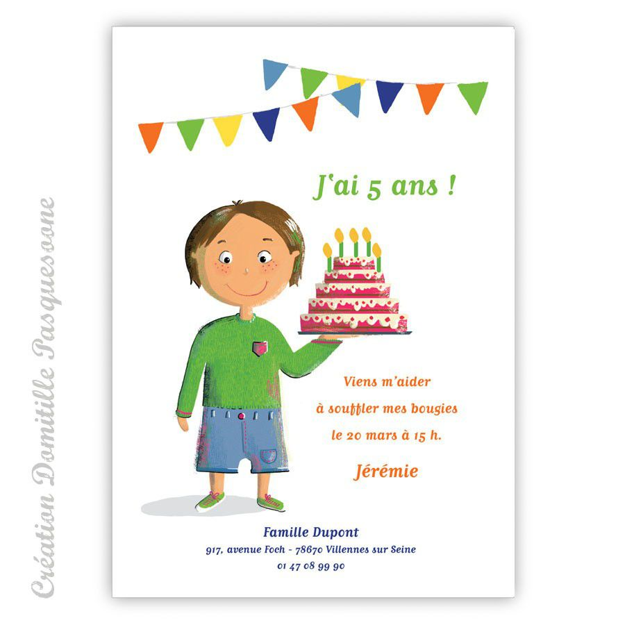 invitation anniversaire fille 5 ans