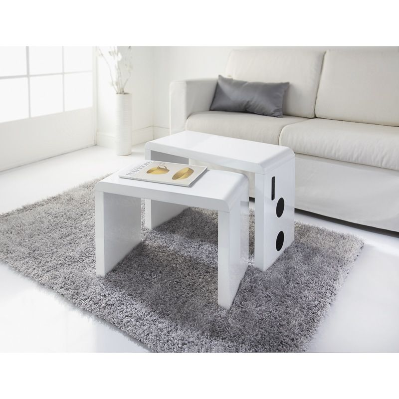 A Contemporary White High Gloss Set Of Tables Featuring Sleek Curved Edges Features Built In Bluetooth Connectivit Furniture Home Everyday Essentials Products