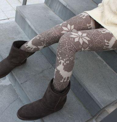 Snowflake Deer Nordic Knit Pattern Leggings