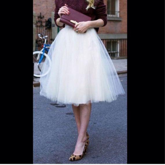 White Tulle Skirt Bridesmaid Flower Girl Skirt Wedding Dress Tutu ...