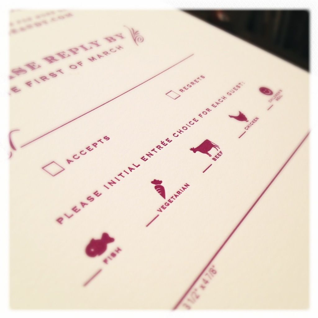 Sneak Peek Purple Vintage Winery Letterpress Wedding Invitation