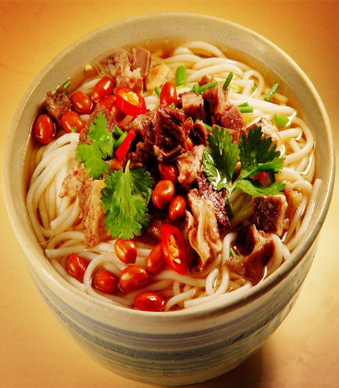 Chinese Halal Food Guilin Rice Noodles Taking Pride Of Place As The Most Popular Local Snack In Guilin Mifen Is Plia Halal Recipes Food Halal Chinese Food