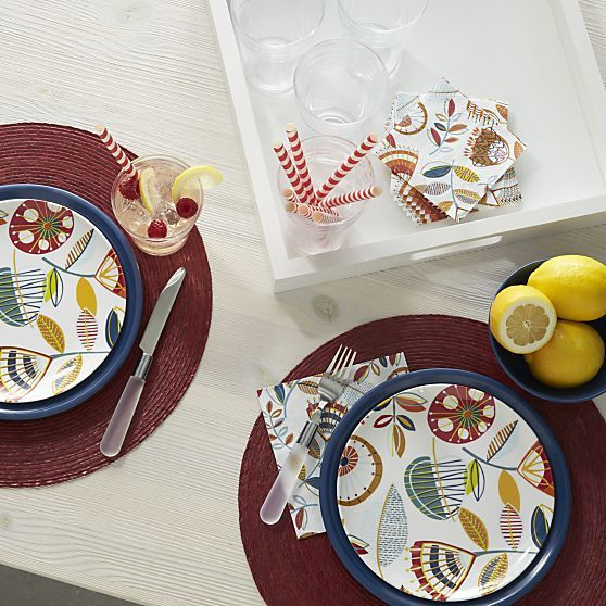 A vibrant modern botanical with a playful attitude and upbeat palette decorates this durable melamine plate & A vibrant modern botanical with a playful attitude and upbeat ...