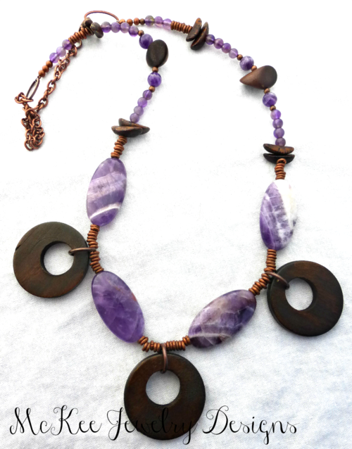 #Purple amethyst stone, wood and copper necklace.