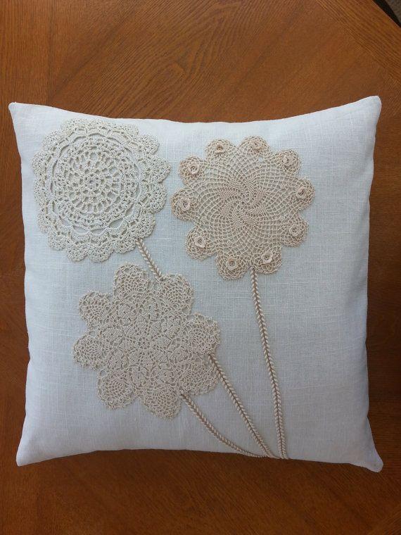Funda de almohada de lino con tapetes por SewingMyStitchInTime ...