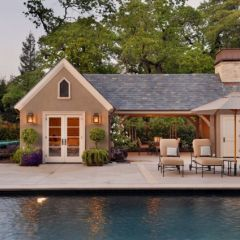 Garage inspiration really want a covered porch area for Detached garage pool house