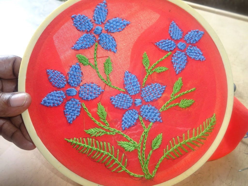 Hand Embroidery Checkered Flower Stitch By Amma Arts  Youtube