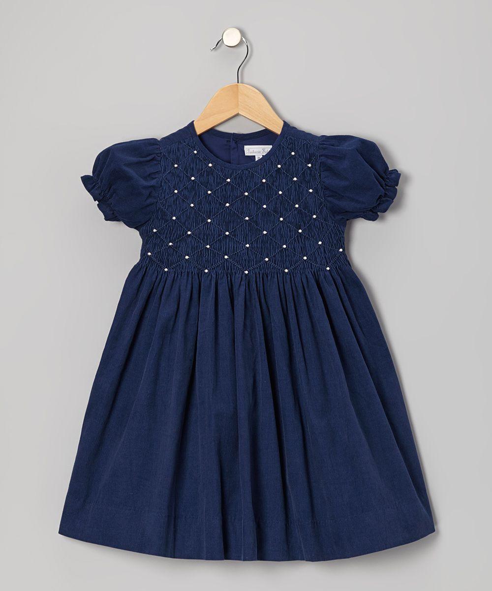 cd84bfa9a27f Navy Blue Pearl Smocked Corduroy Dress - Toddler   Girls
