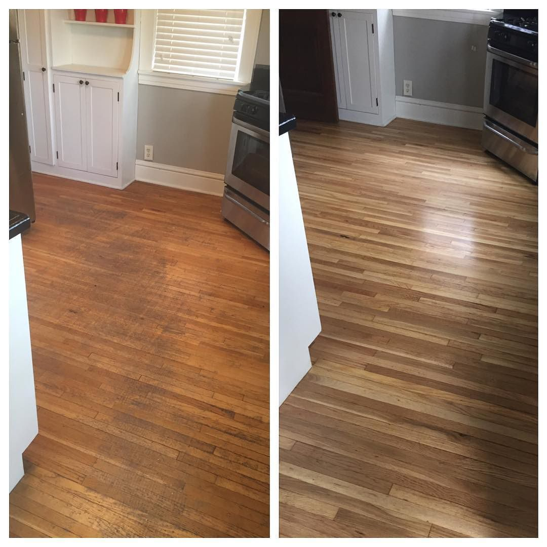Before and after floor refinishing. Looks amazing!! )