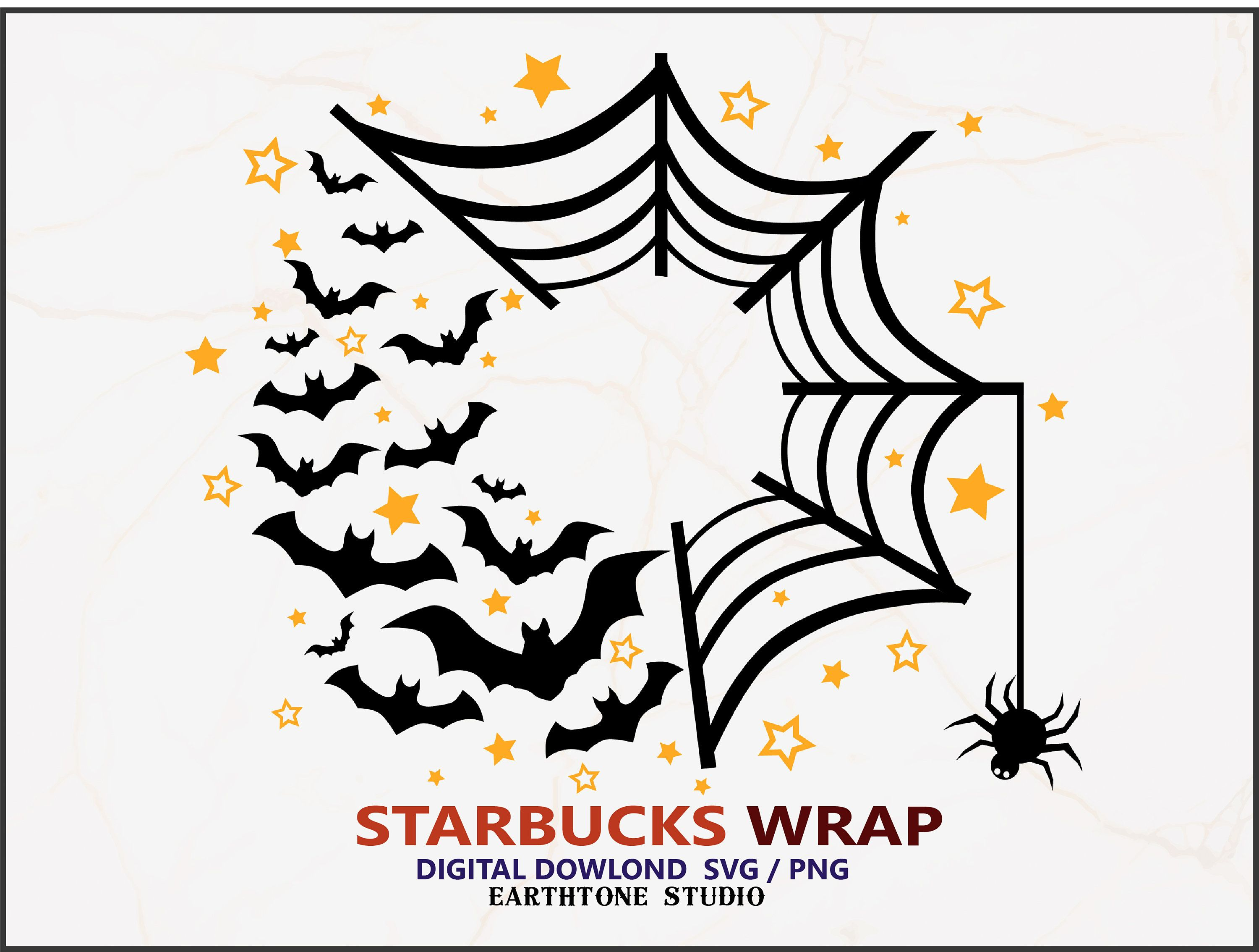 Halloween theme bat and spider Full wrap SVG for Starbucks
