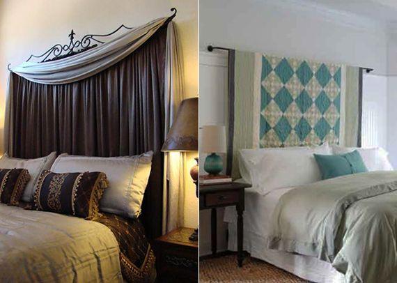 Schlafzimmer Ideen Für Schlafzimmer Dekorieren Mit DIY Kopfteil Aus  Gardinen Und Vorhängen