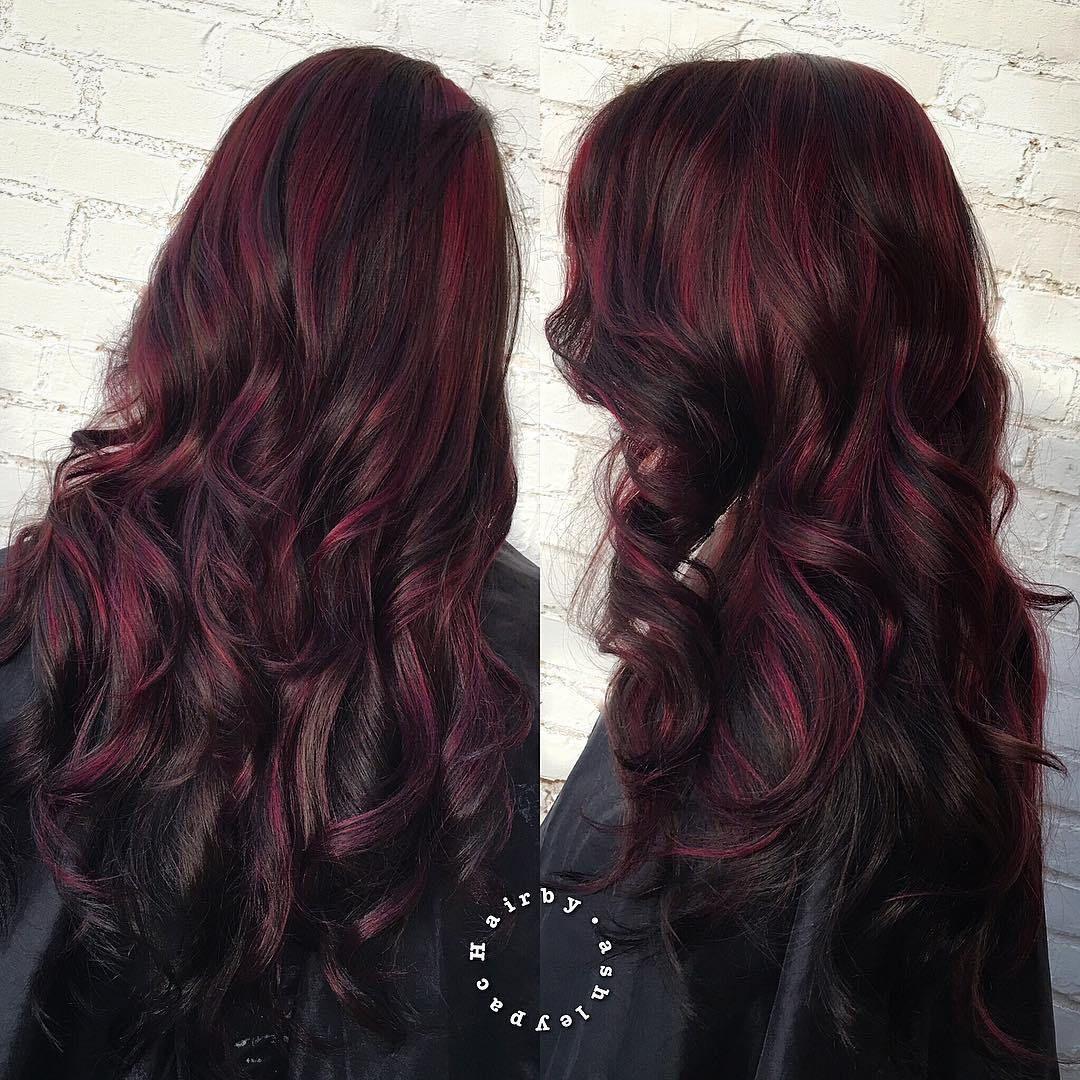 45 Shades Of Burgundy Hair Dark Burgundy Maroon Burgundy With Red Purple And Brown Highlights Burgundy Hair Hair Color For Black Hair Black Hair With Highlights