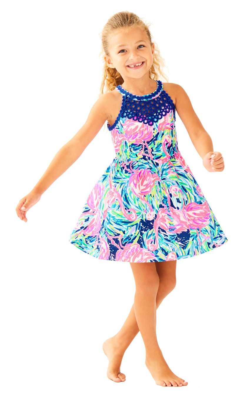 7de1ee160260 Lilly Pulitzer Girls Kinley Fit   Flare Dress Multi Flamenco Beach ...